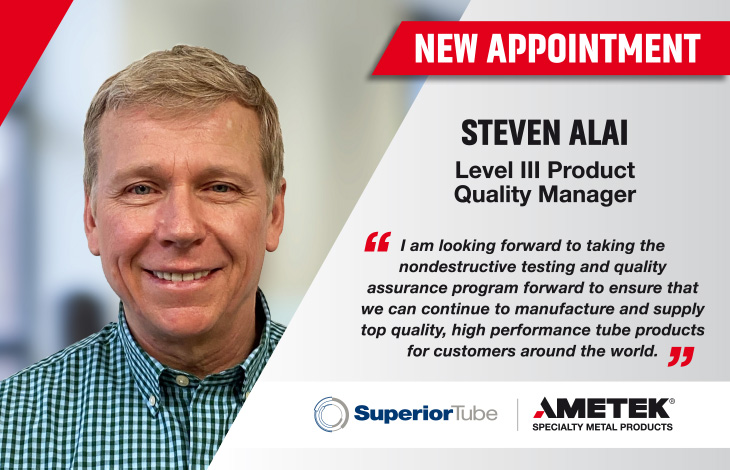 Steven Alai appointed as Level III Product Quality Manager at Superior Tube